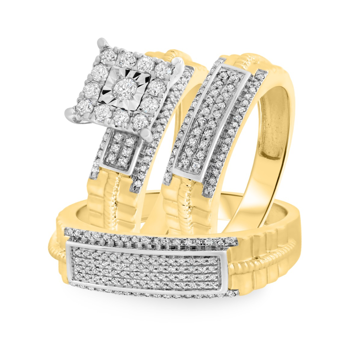 3/4 Carat T.W. Diamond Trio Matching Wedding Ring Set 10K Yellow Gold
