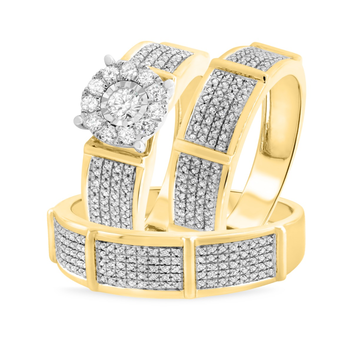 1 CT. T.W. Diamond Trio Matching Wedding Ring Set 14K Yellow Gold