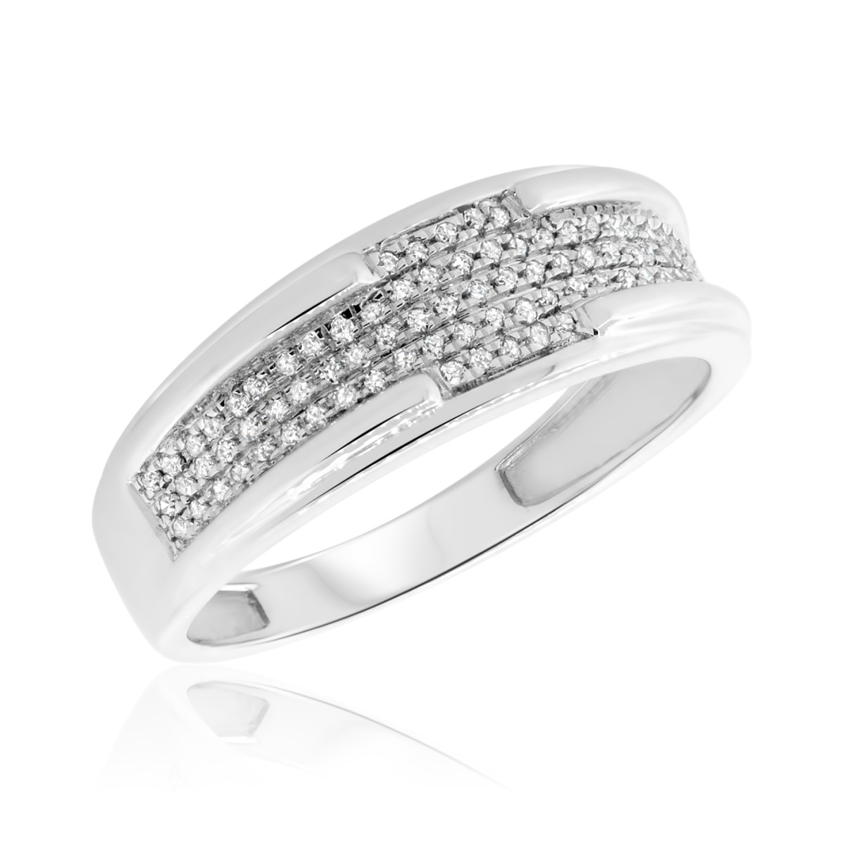 1/5 Carat T.W. Diamond Ladies Wedding Band 14K White Gold