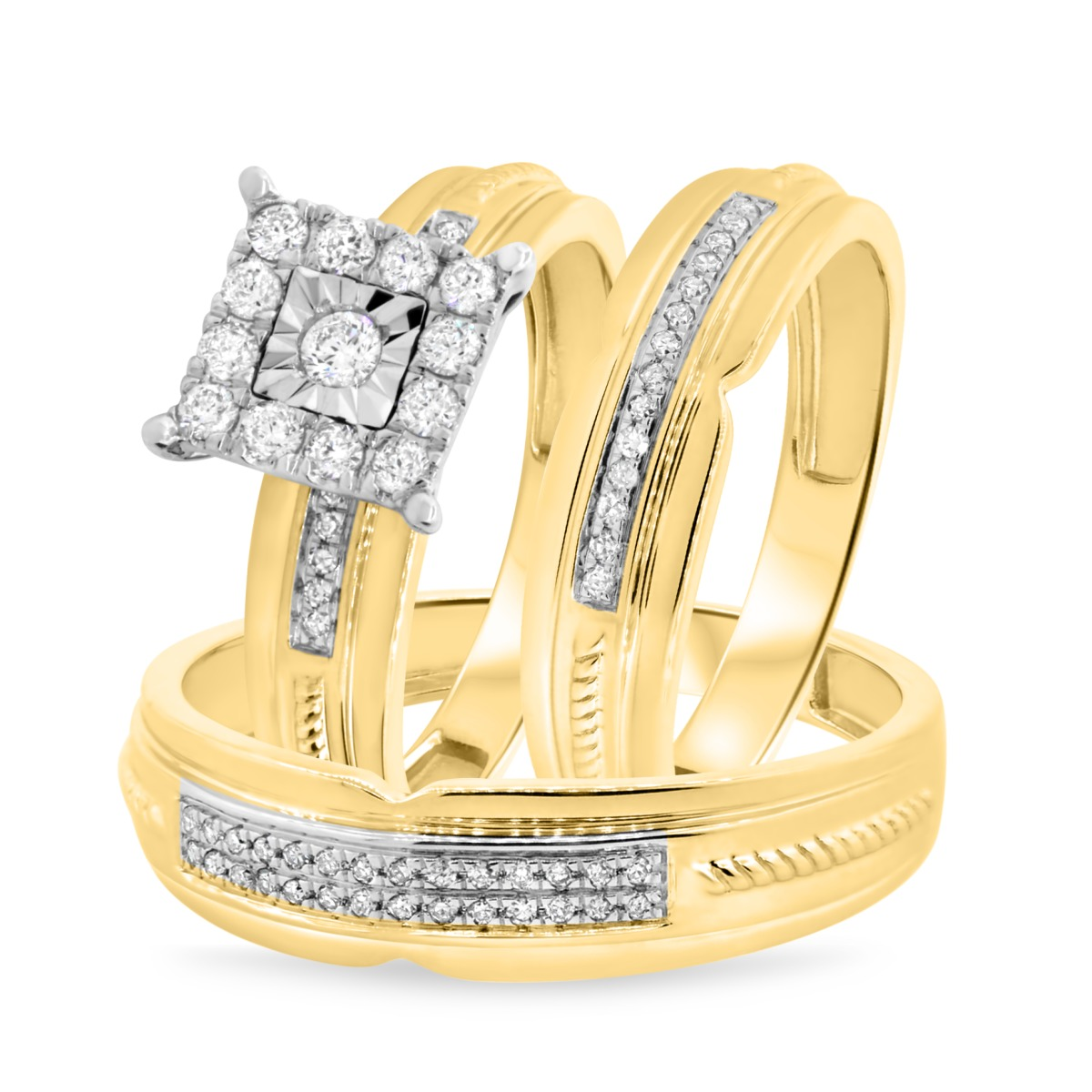1/2 CT. T.W. Diamond Trio Matching Wedding Ring Set 10K Yellow Gold