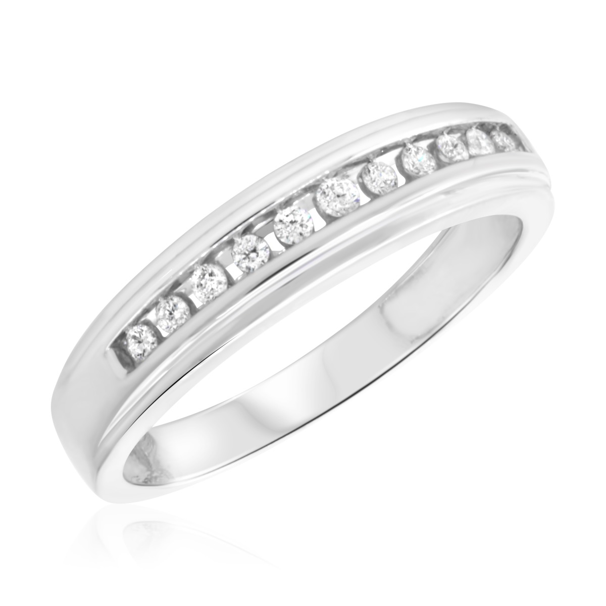 1/4 Carat T.W. Diamond Mens Wedding Band 14K White Gold