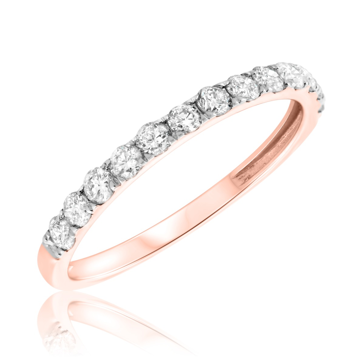 1/2 CT. T.W. Diamond Ladies Wedding Band  10K Rose Gold