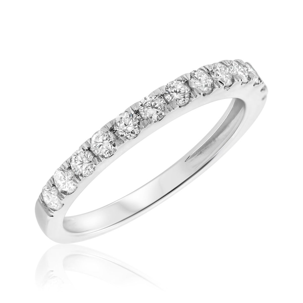 2/3 CT. T.W. Diamond Ladies Wedding Band  10K White Gold