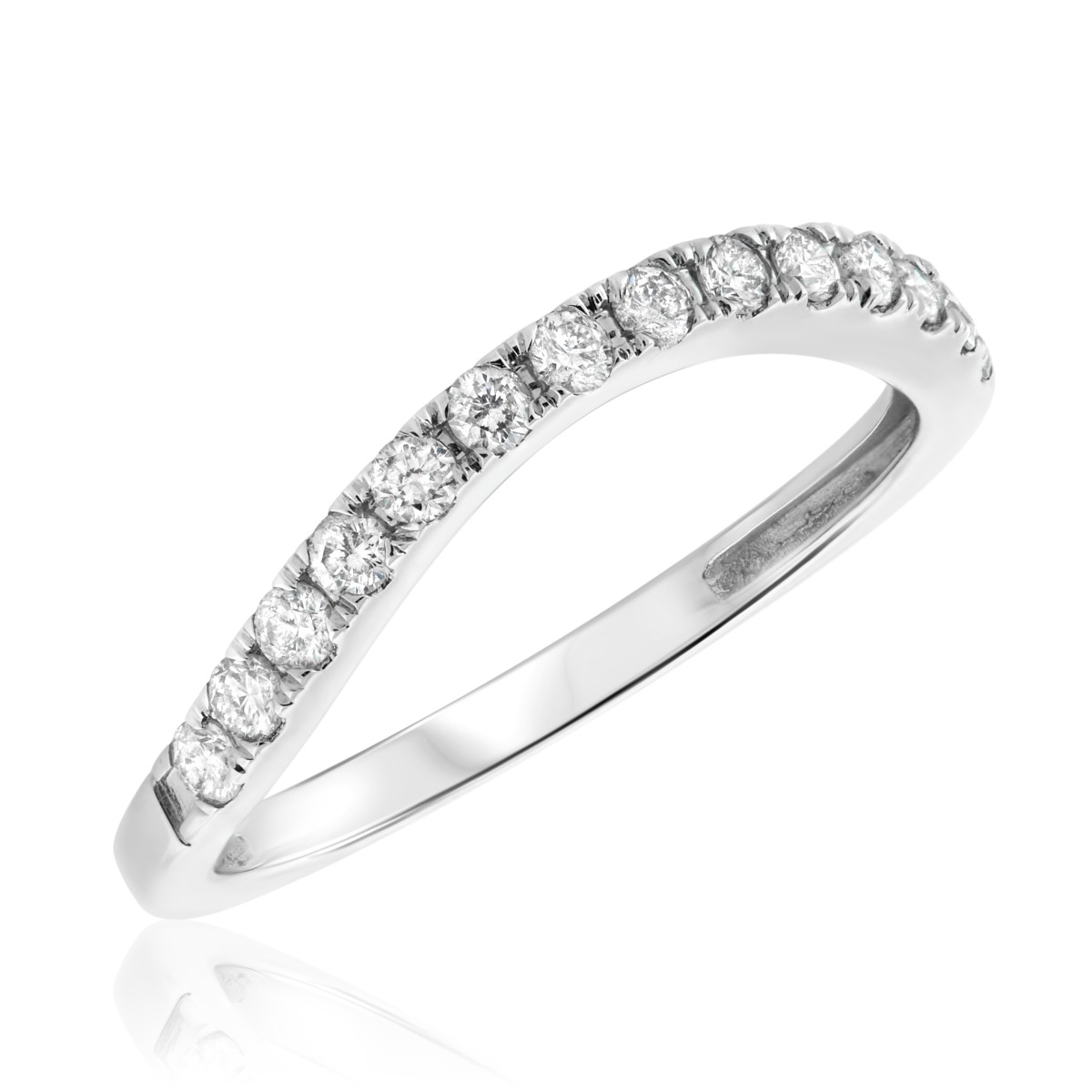 5/8 Carat T.W. Diamond Ladies Wedding Band  14K White Gold