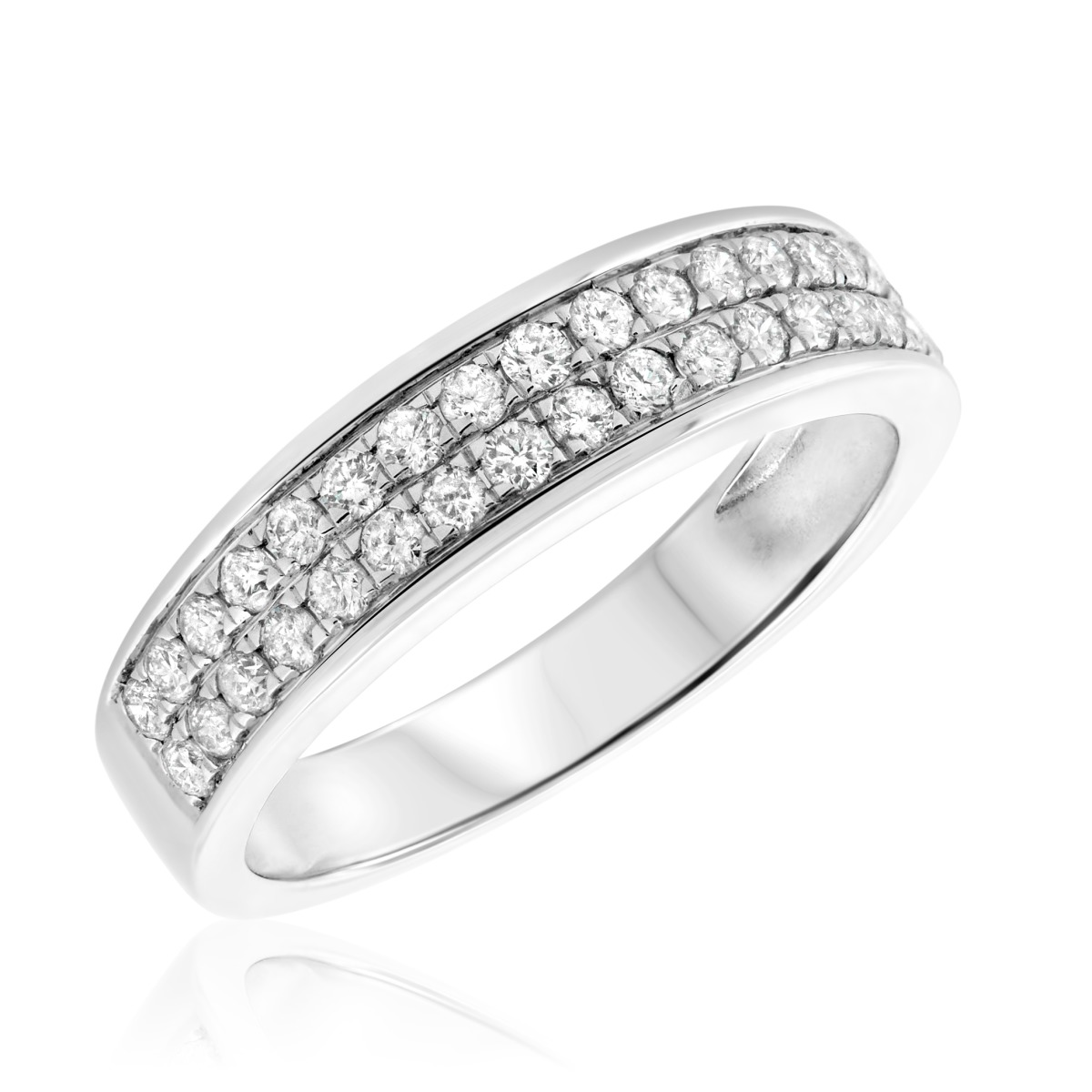 5/8 Carat T.W. Diamond Ladies Wedding Band  10K White Gold
