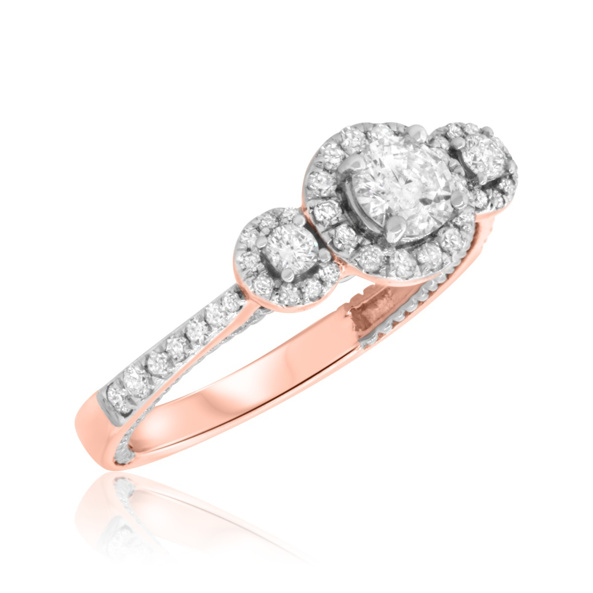 3/4 Carat T.W. Diamond Engagement Ring 14K Rose Gold