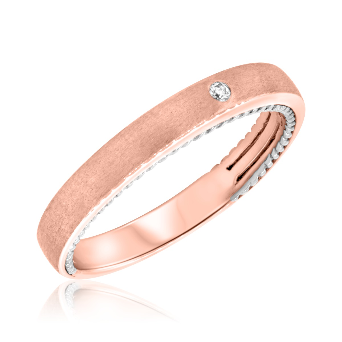 1/20 Carat T.W. Diamond Ladies Wedding Band  10K Rose Gold