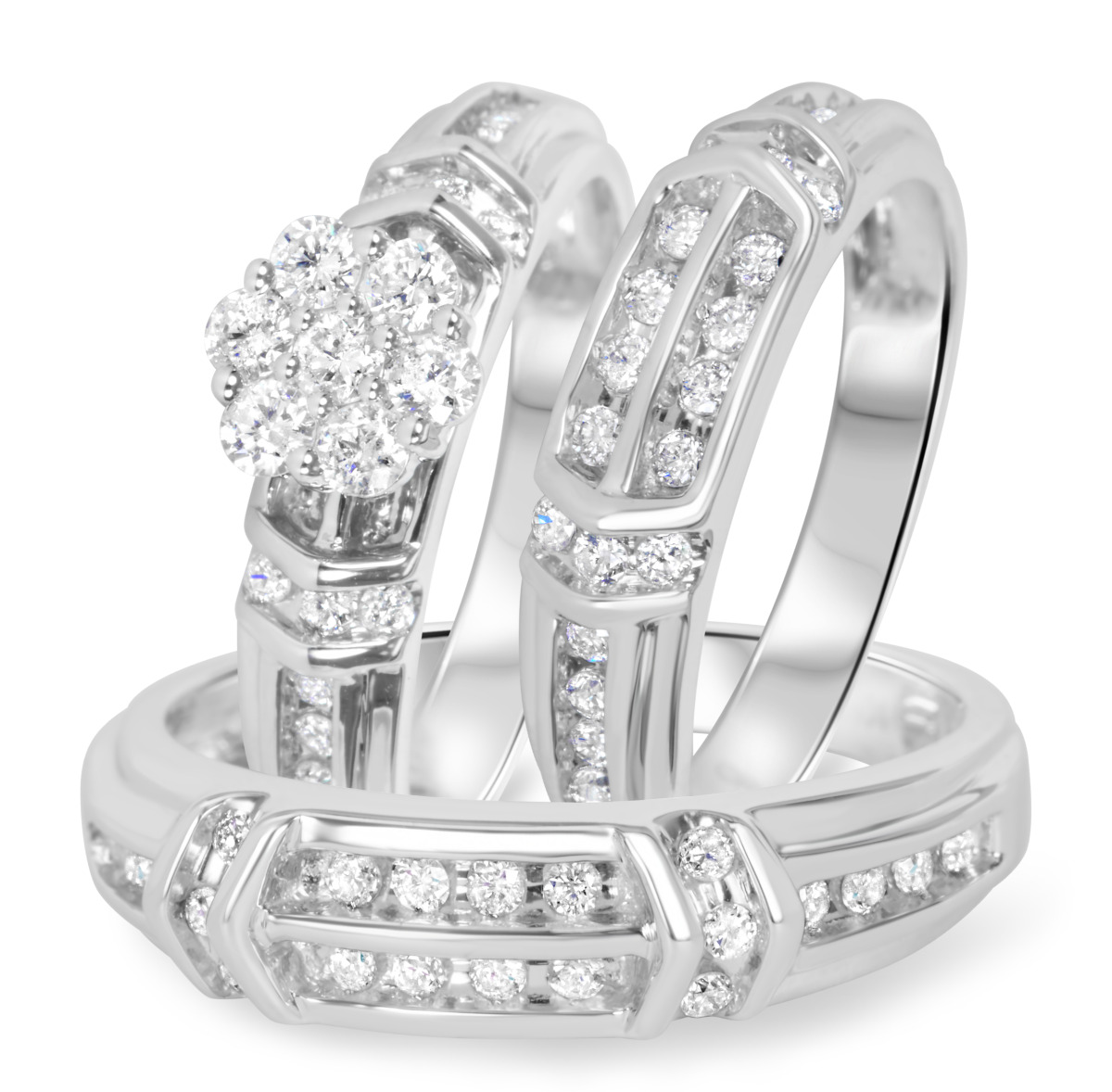 1 1/10 Carat T.W. Diamond Trio Matching Wedding Ring Set 14K White Gold