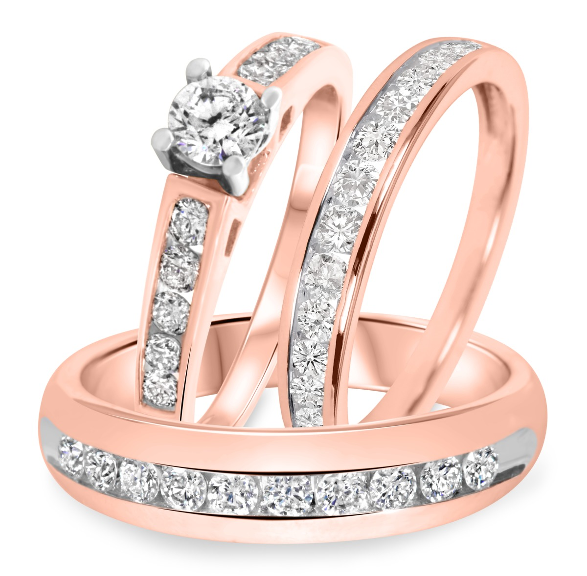 1 1/2 CT. T.W. Diamond Trio Matching Wedding Ring Set 14K Rose Gold