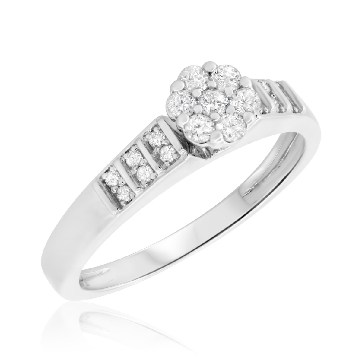 1/4 CT. T.W. Diamond Ladies' Engagement Ring 10K White Gold