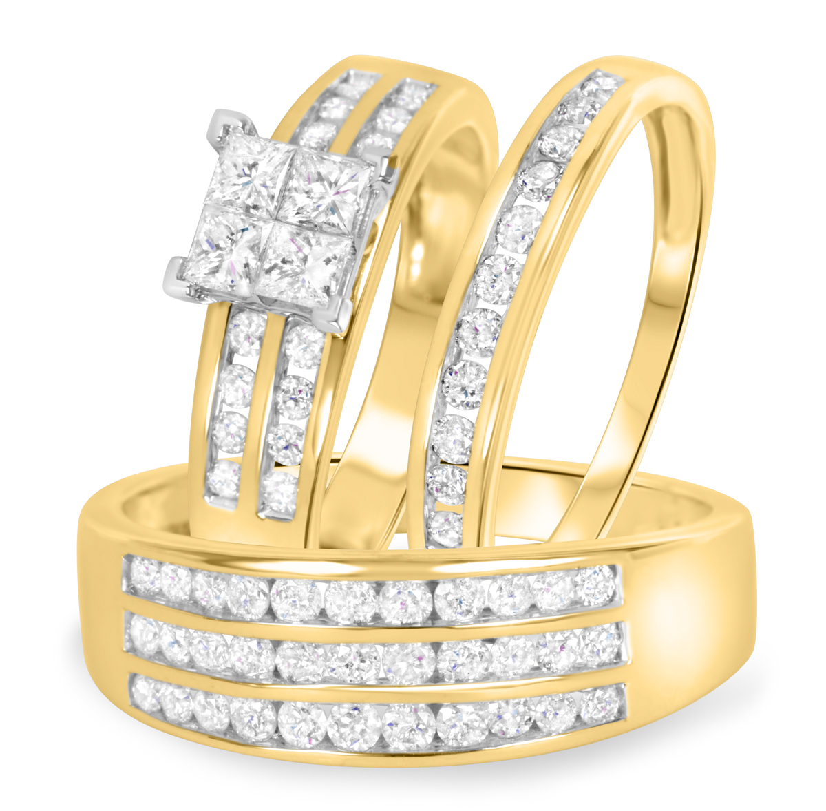 1 5/8 Carat T.W. Diamond Trio Matching Wedding Ring Set 10K Yellow Gold