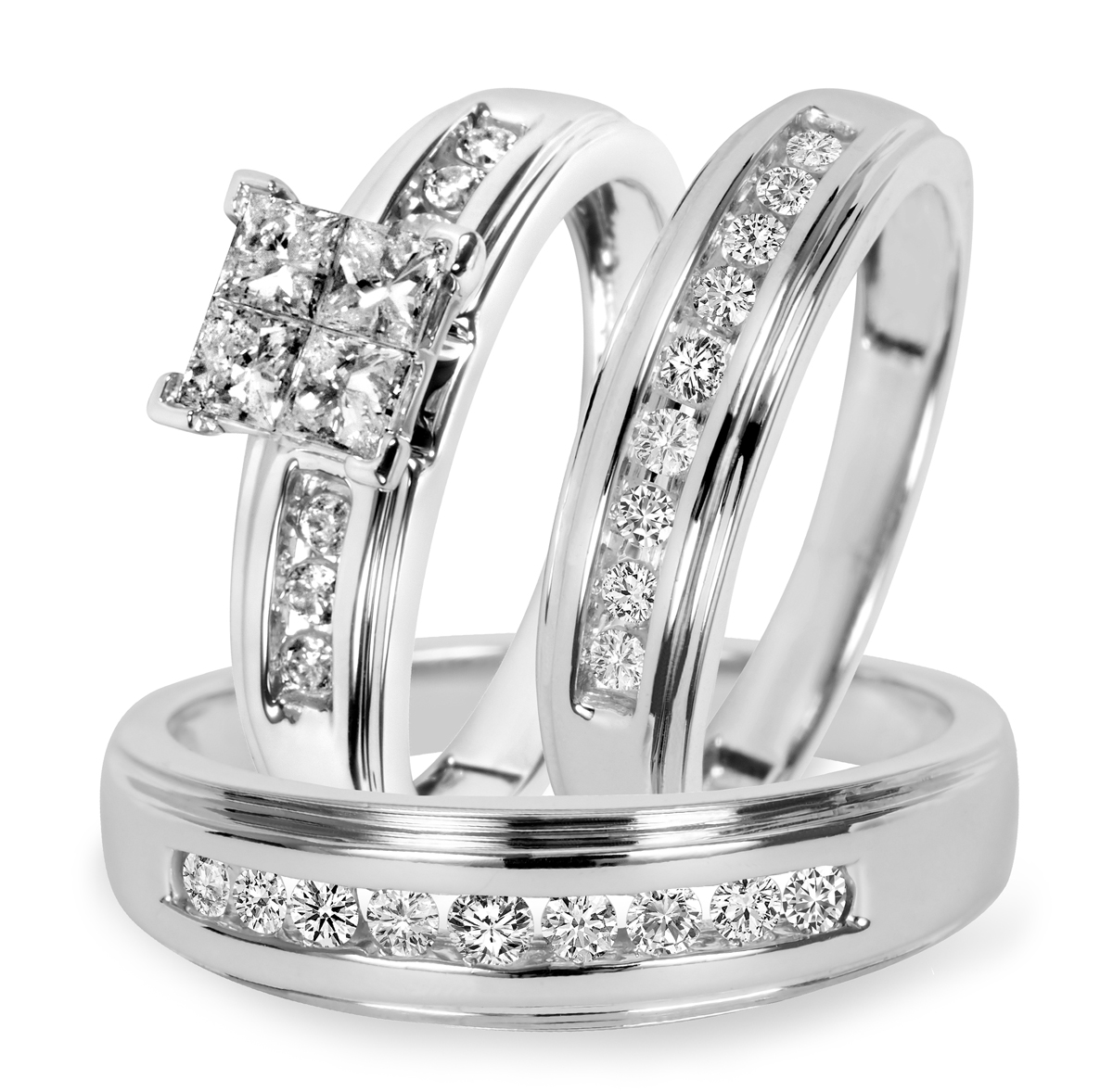 1 Carat T.W. Diamond Trio Matching Wedding Ring Set 10K White Gold