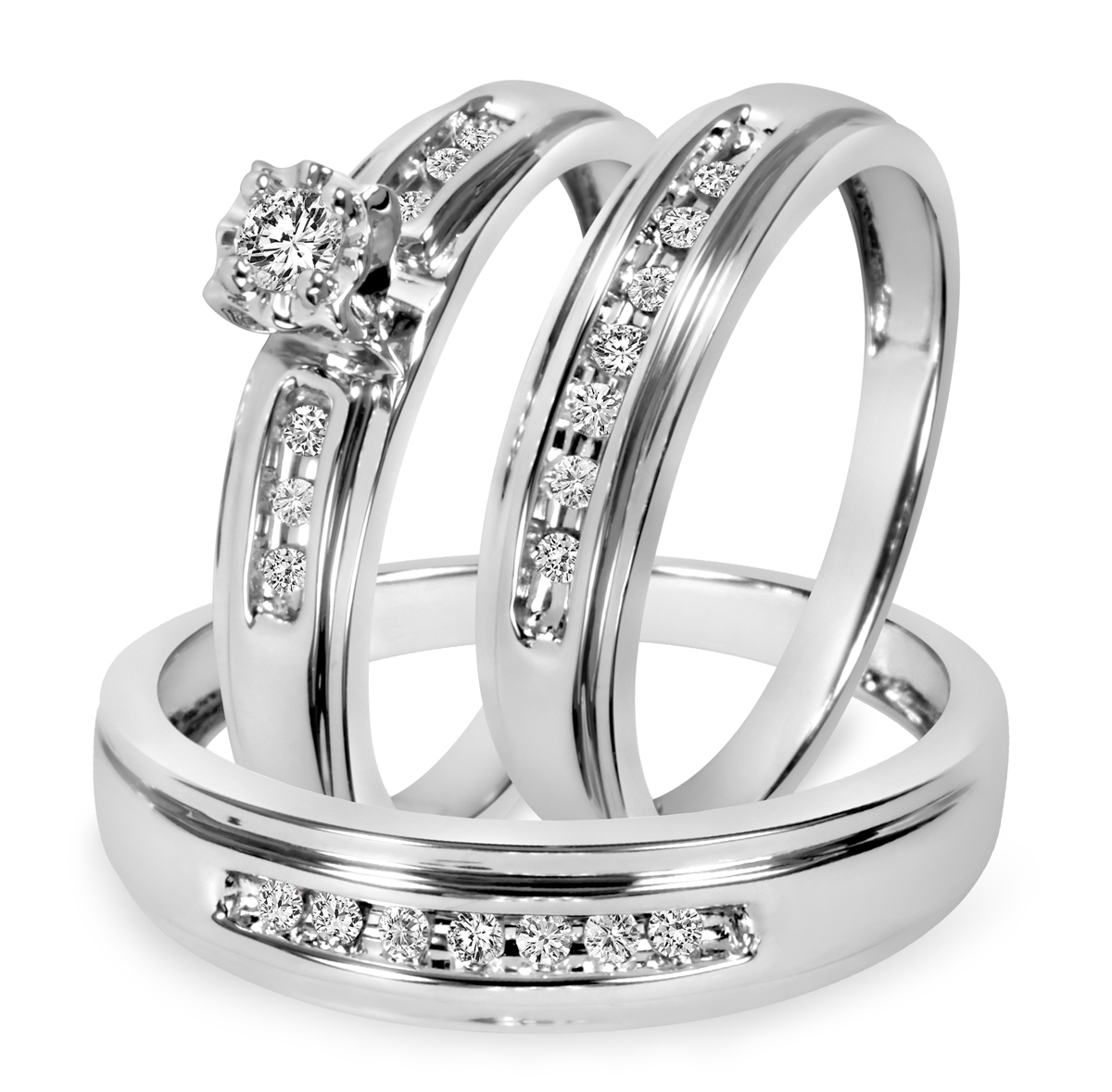 1/4 CT. T.W. Diamond Trio Matching Wedding Ring Set 14K White Gold