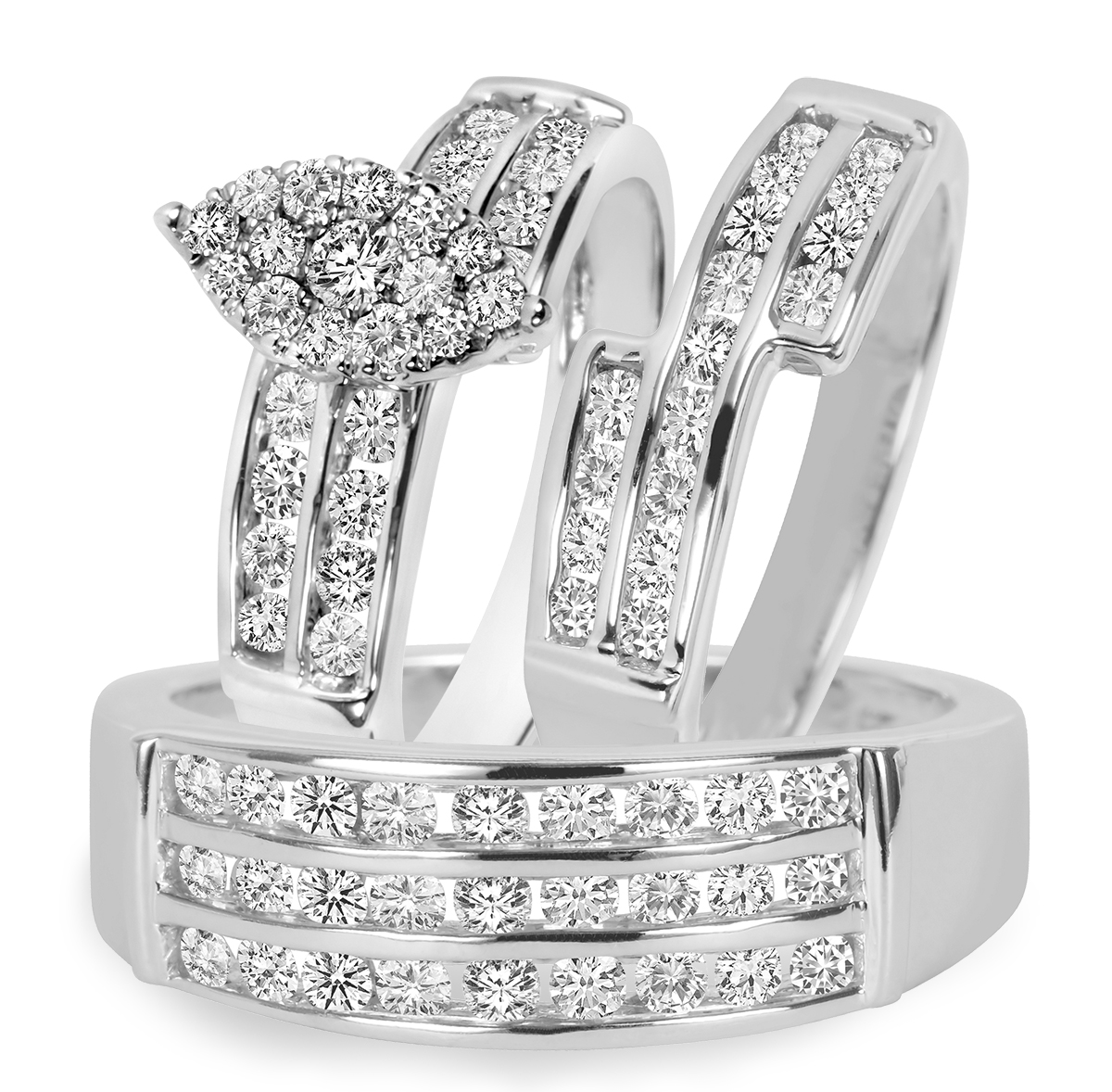 1 3/4 CT. T.W. Diamond Trio Matching Wedding Ring Set 10K White Gold