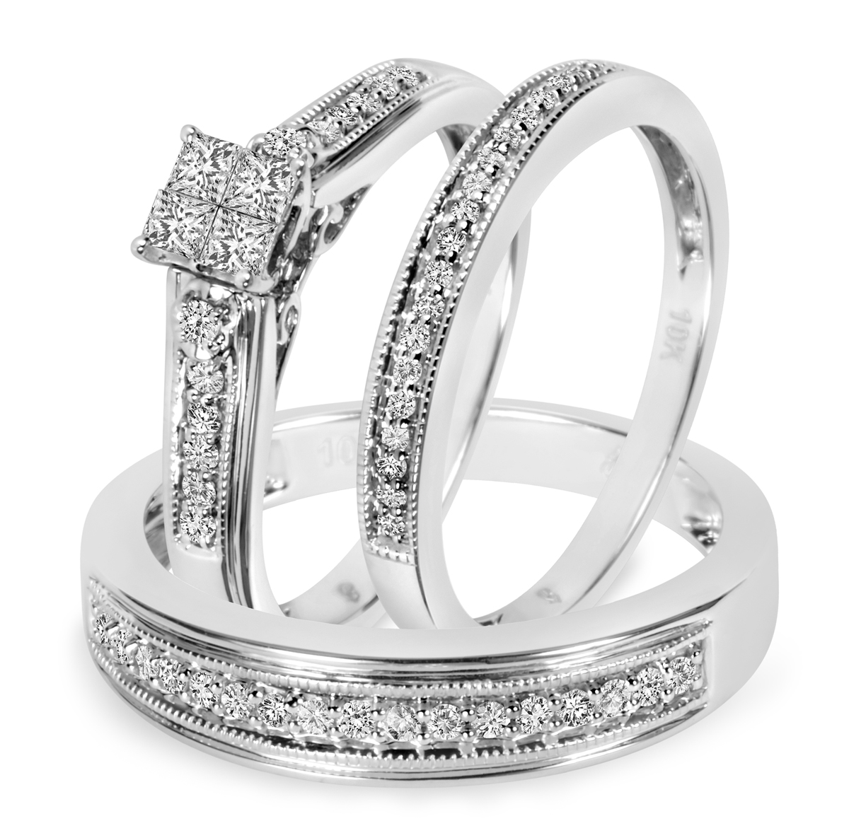 1/2 Carat T.W. Diamond Trio Matching Wedding Ring Set 10K White Gold