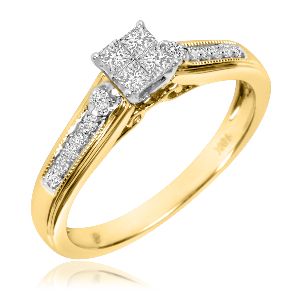 1/4 CT. T.W. Diamond Ladies' Engagement Ring 10K Yellow Gold