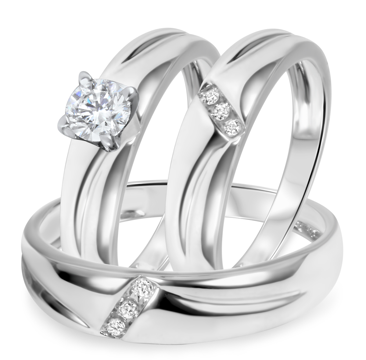 3/8 CT. T.W. Diamond Ladies Engagement Ring, Wedding Band, Men's Wedding Band Matching Set 10K White Gold