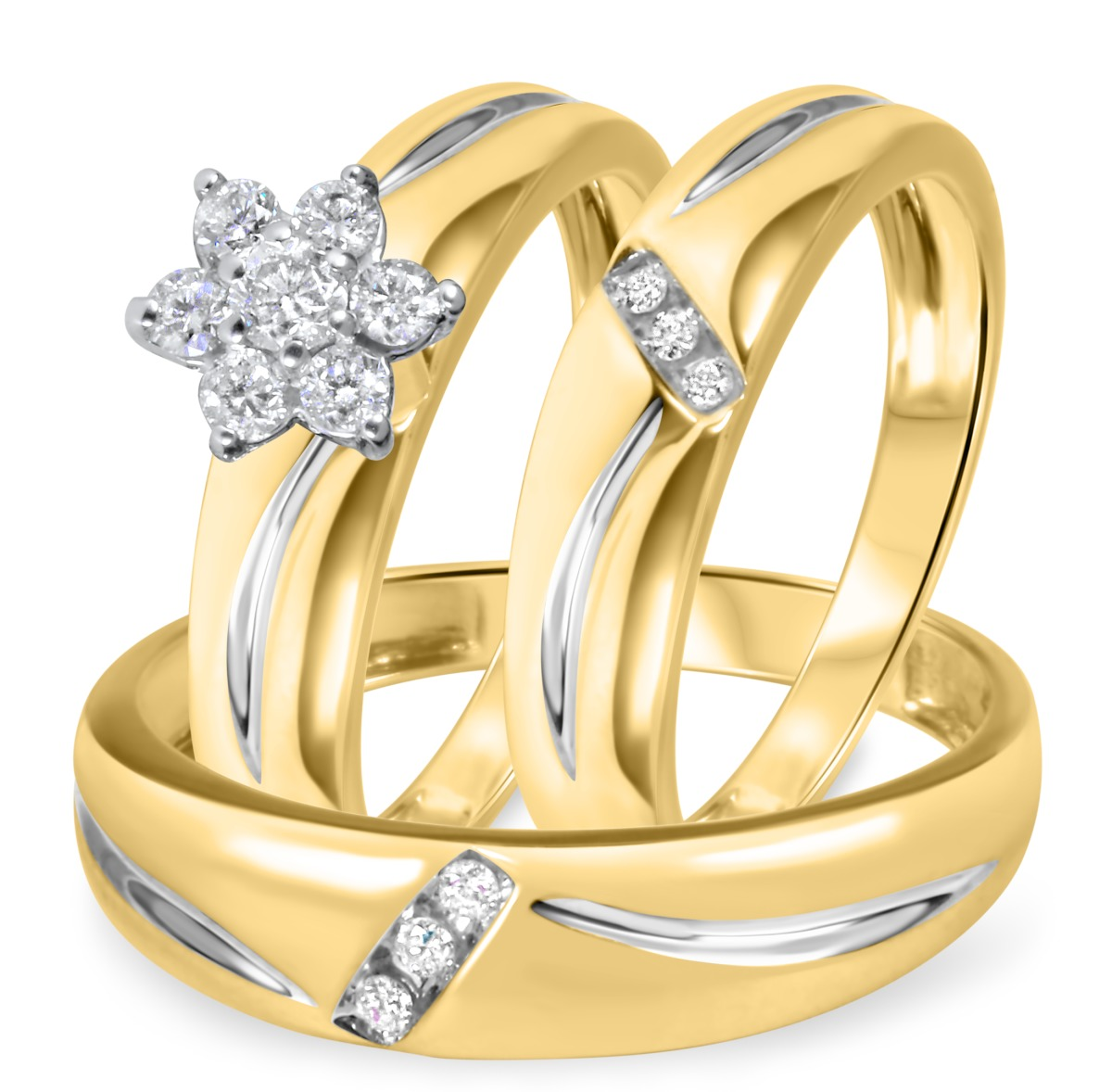 1/3 CT. T.W. Diamond Ladies Engagement Ring, Wedding Band, Men's Wedding Band Matching Set 10K Yellow Gold