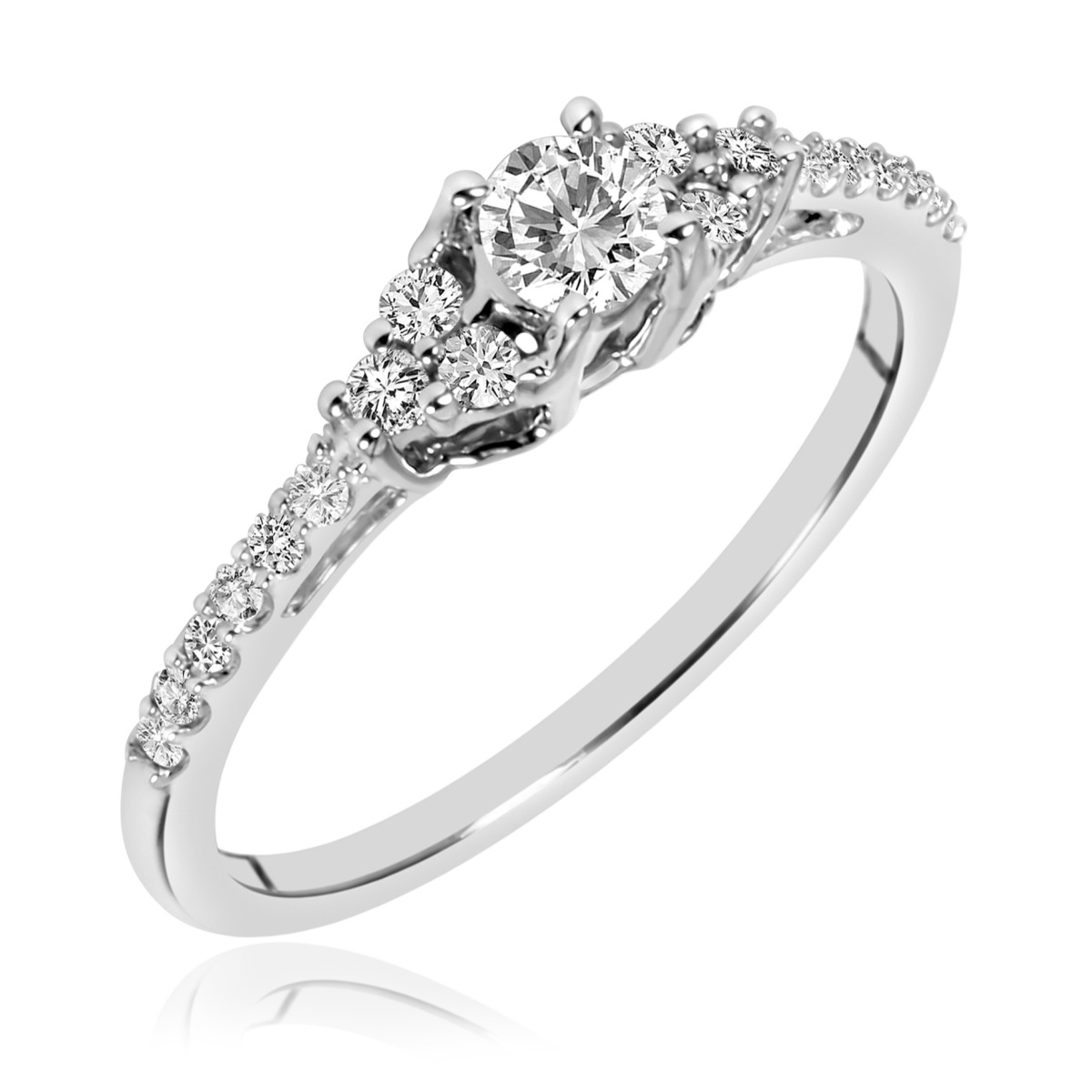3/8 CT. T.W. Diamond Ladies Promise Ring 14K White Gold