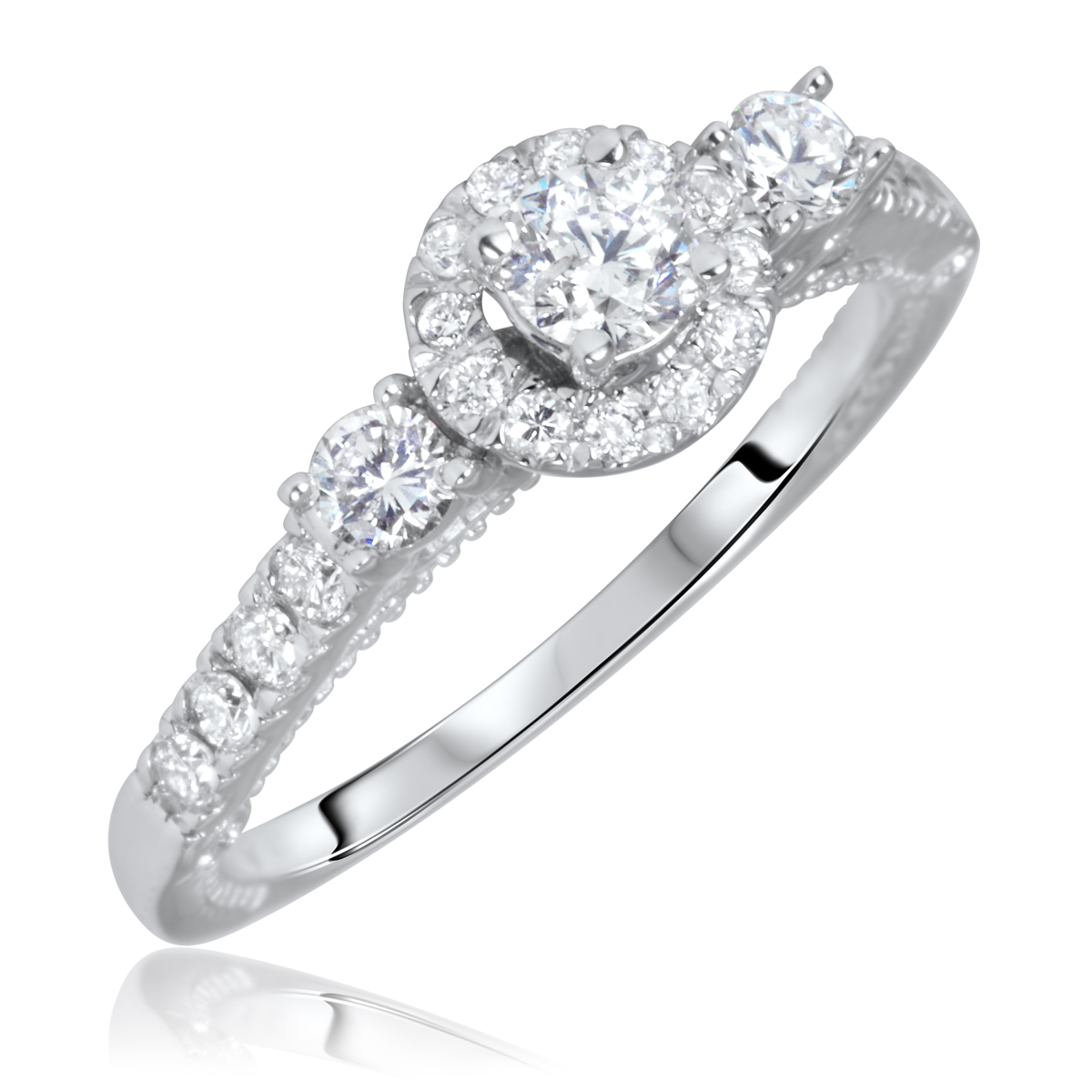 7/8 Carat T.W. Round Cut Diamond Ladies Engagement Ring 14K White Gold