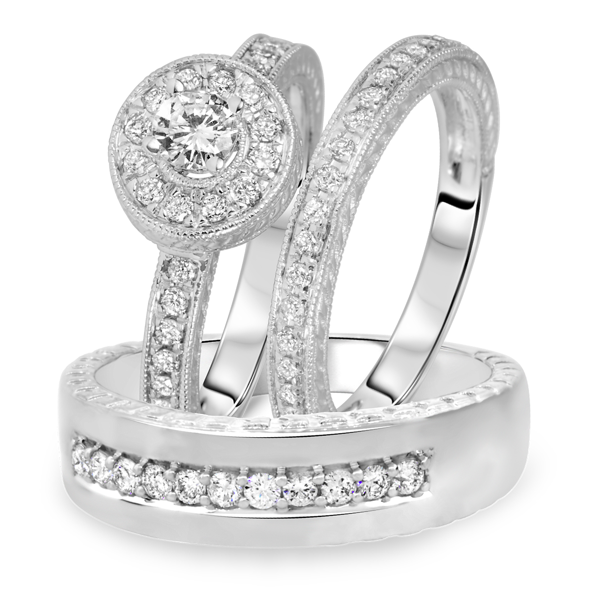 1 Carat T.W. Round Cut Diamond Matching Trio Wedding Ring Set 14K White Gold