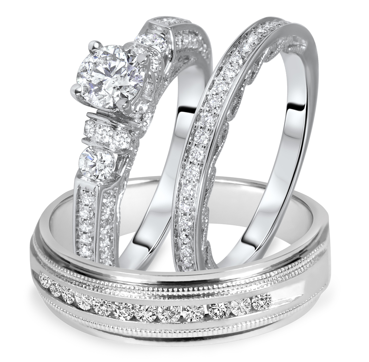 1 1/2 Carat T.W. Round Cut Diamond Matching Trio Wedding Ring Set 14K White Gold