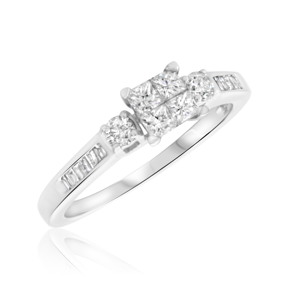 5/8 Carat T.W. Princess, Round Cut Diamond Ladies Engagement Ring 14K White Gold
