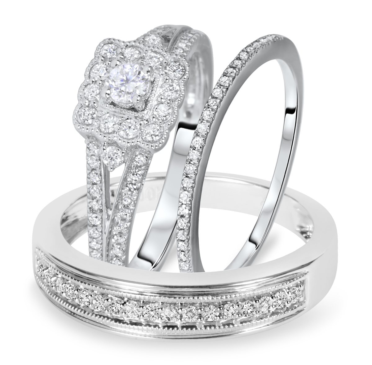 3/4 Carat T.W. Round Cut Diamond Matching Trio Wedding Ring Set 10K White Gold