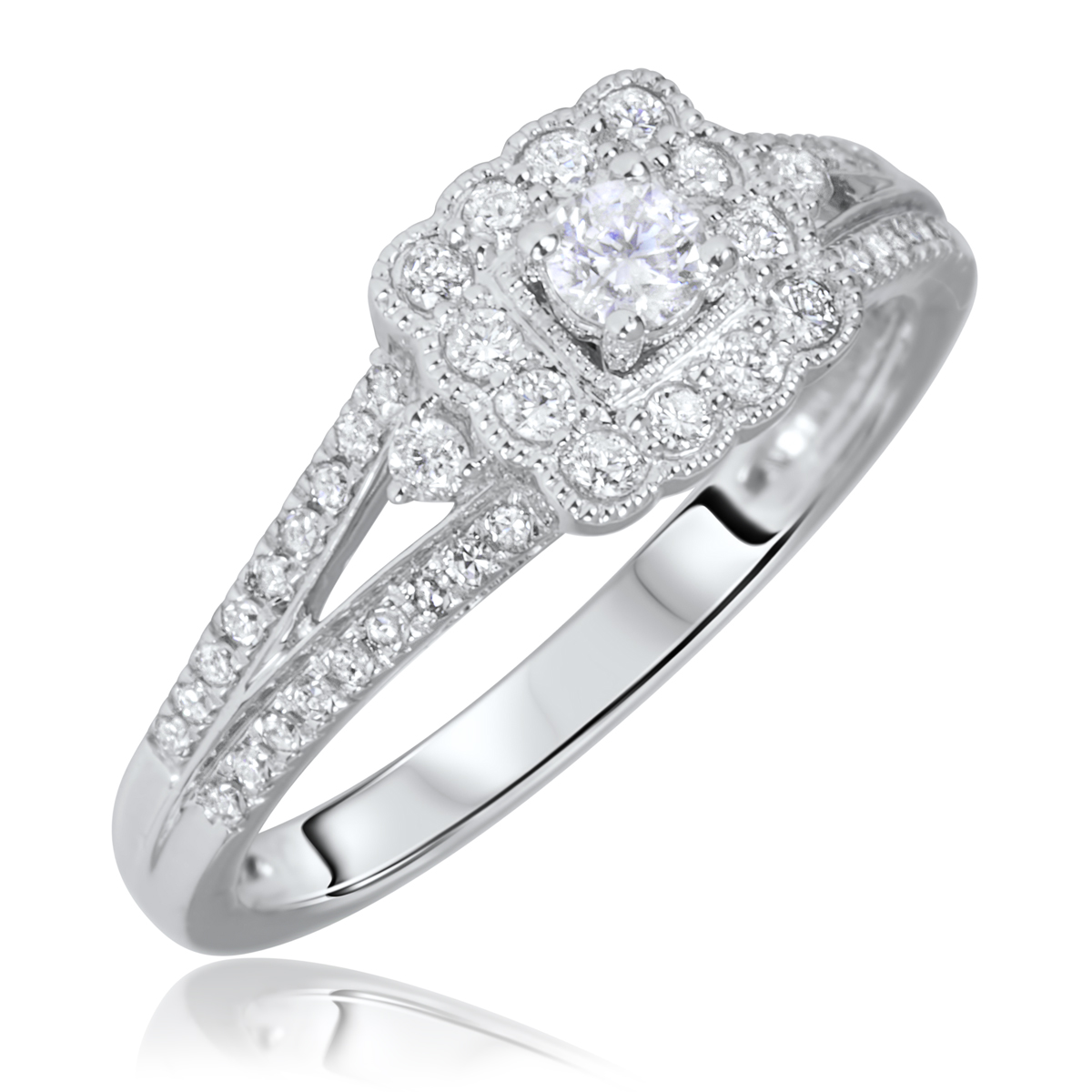 3/8 Carat T.W. Round Cut Diamond Ladies Engagement Ring 14K White Gold