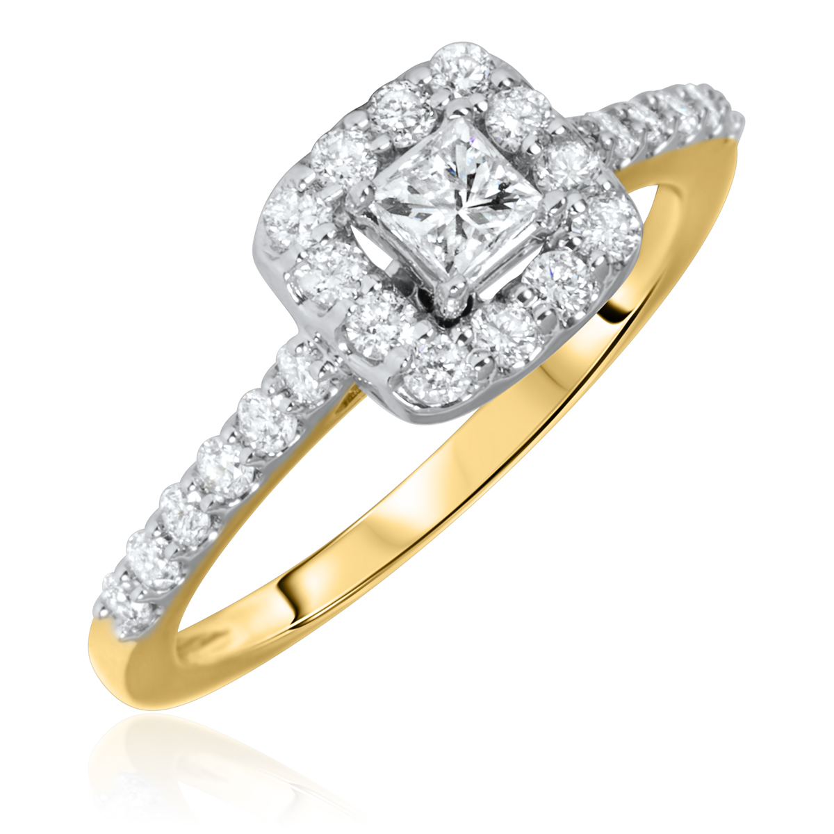 3/4 Carat T.W. Princess, Round Cut Diamond Ladies Engagement Ring 10K Yellow Gold