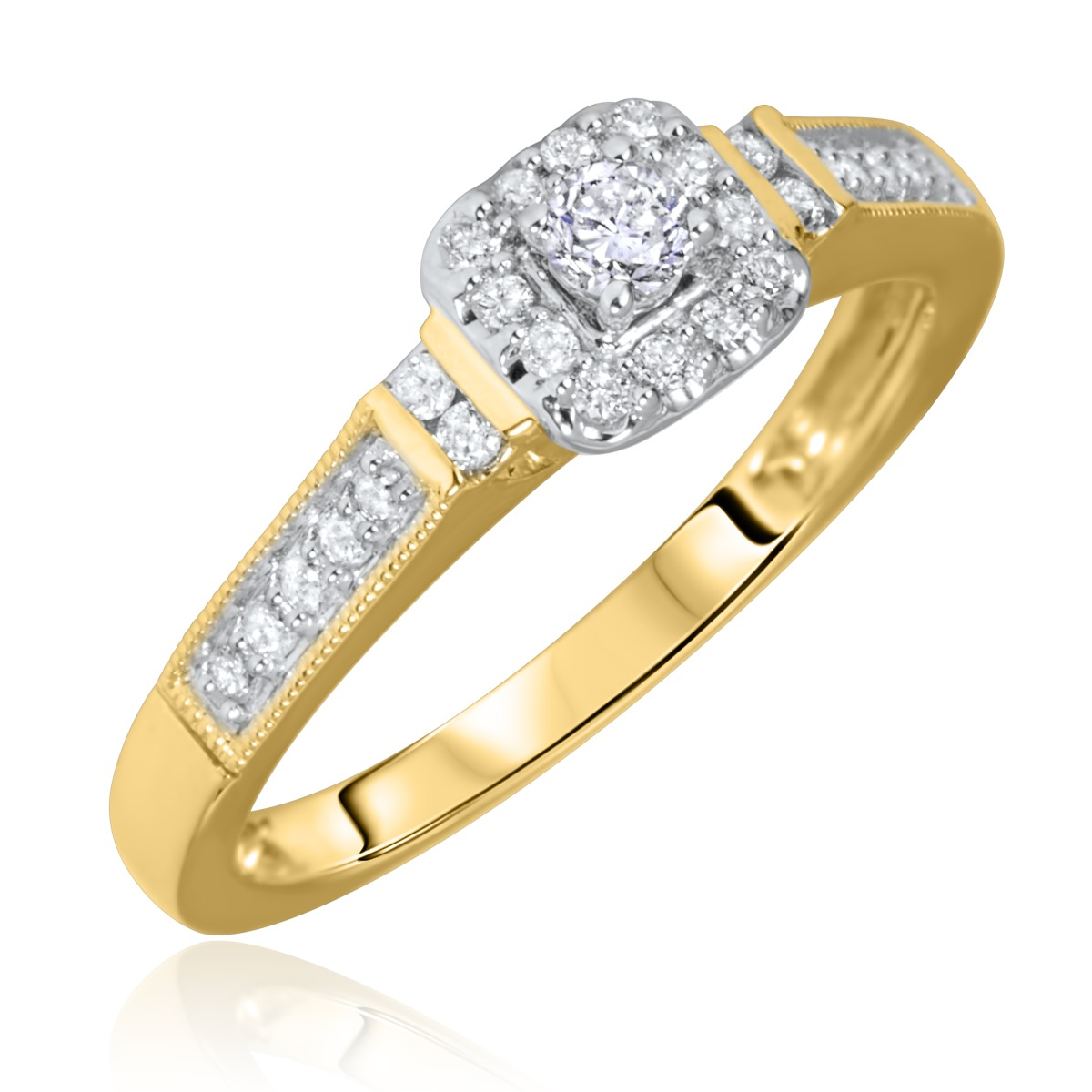1/5 Carat T.W. Rounds Cut Diamond Ladies Engagement Ring 14K Yellow Gold