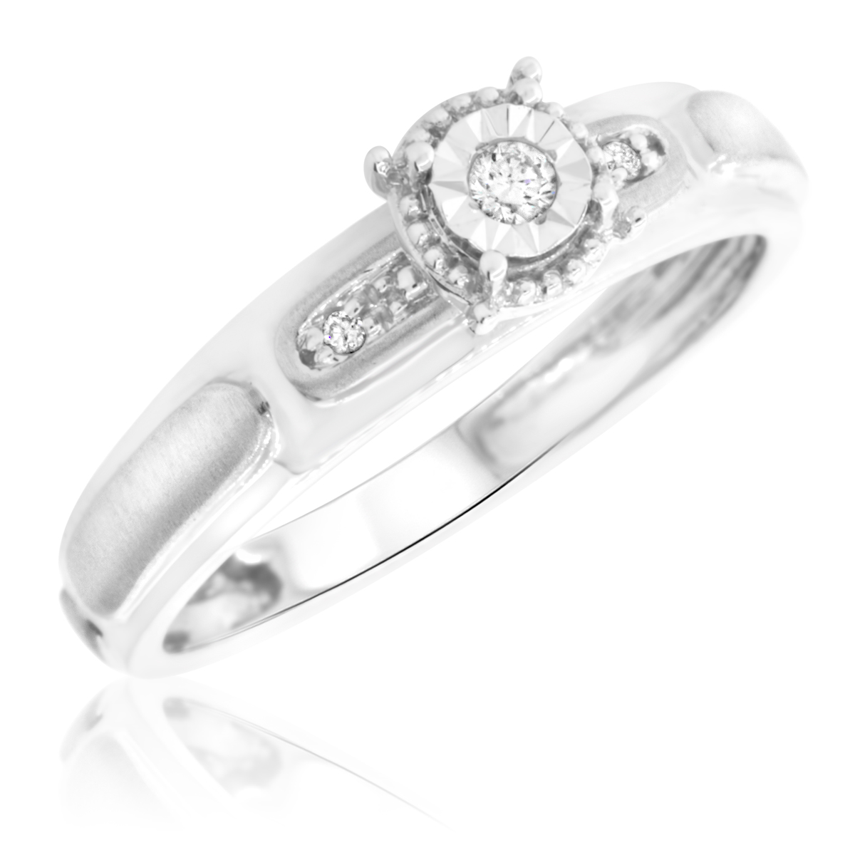 1/20 Carat T.W. Round Cut Diamond Ladies Engagement Ring 14K White Gold