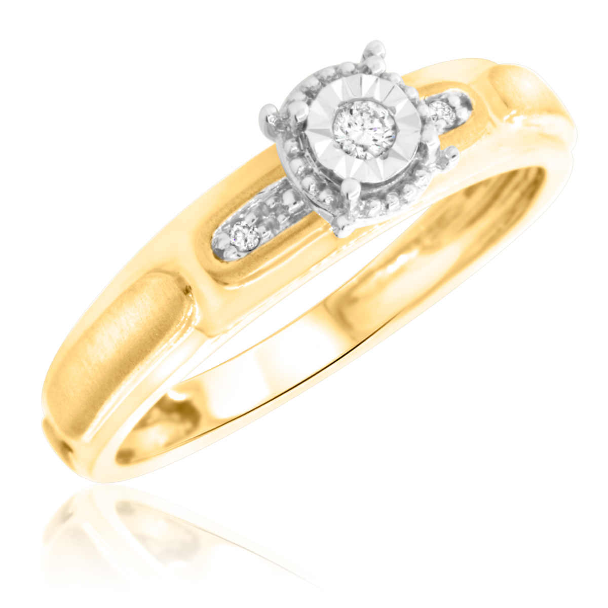 1/20 Carat T.W. Round Cut Diamond Ladies Engagement Ring 14K Yellow Gold