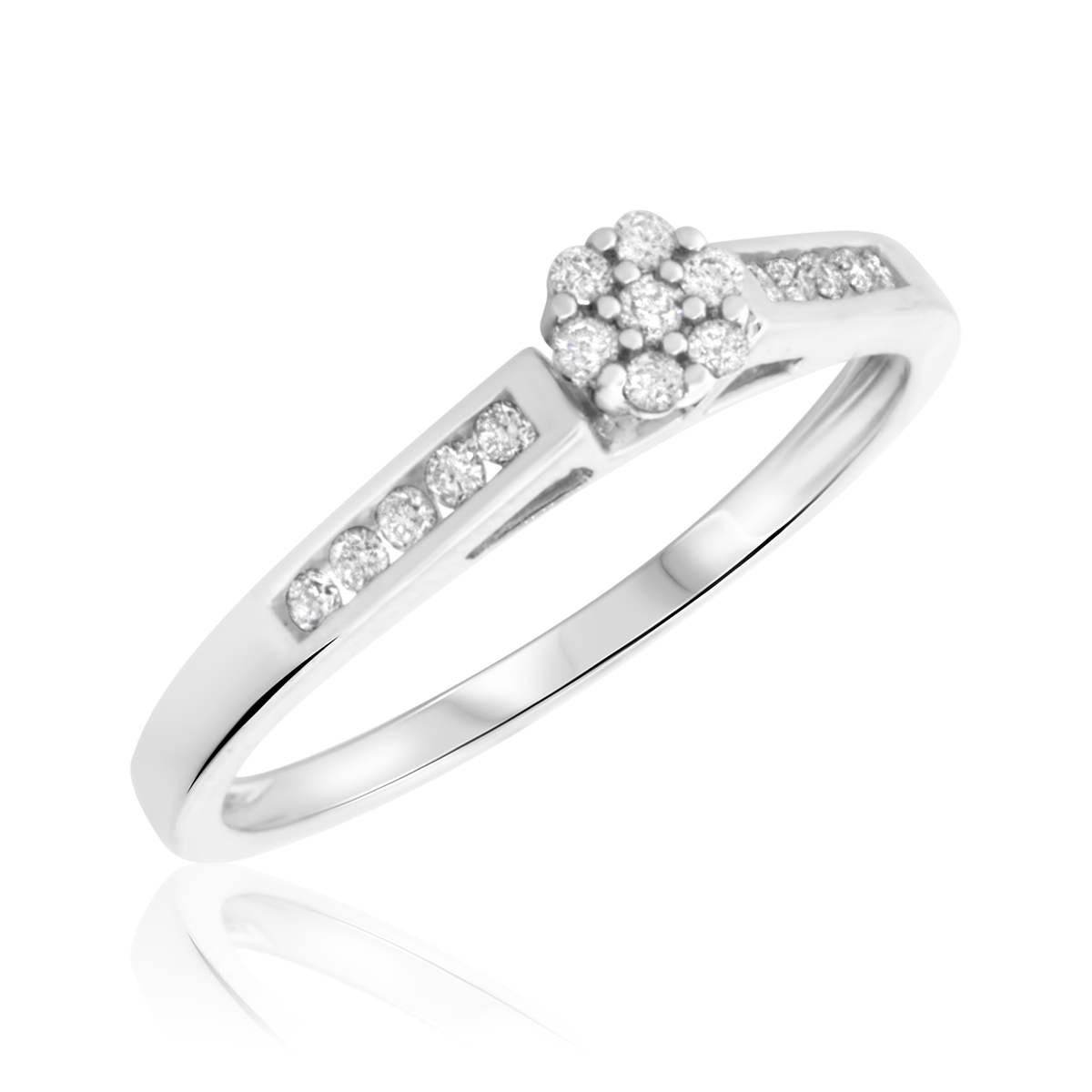 1/5 Carat T.W. Round Cut Diamond Ladies Engagement Ring 10K White Gold