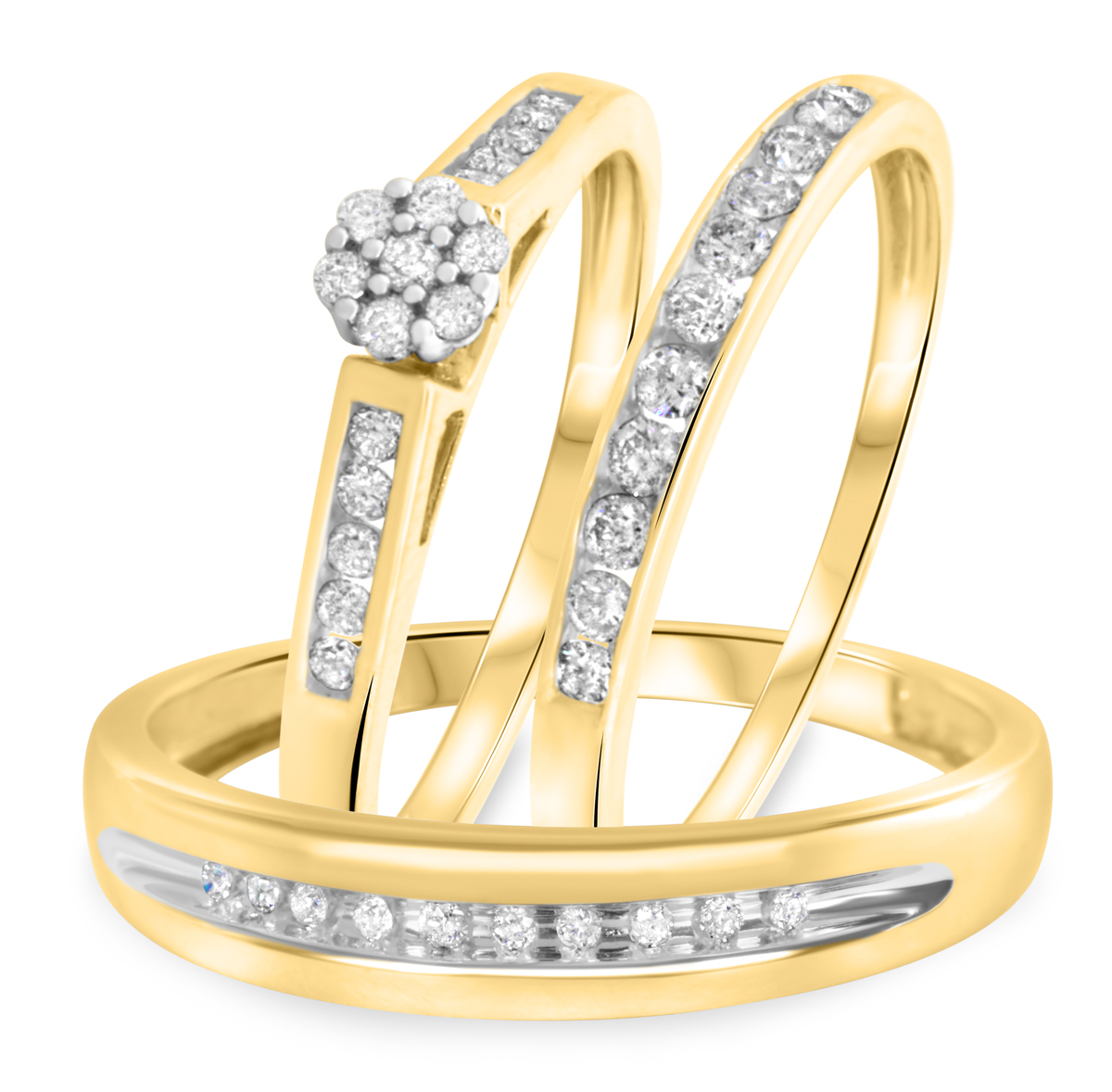 1/2 Carat T.W. Round Cut Diamond Trio Wedding Set 10K Yellow Gold