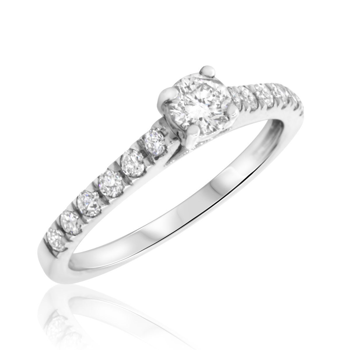 2/3 Carat T.W. Round Cut Diamond Ladies Engagement Ring 10K White Gold