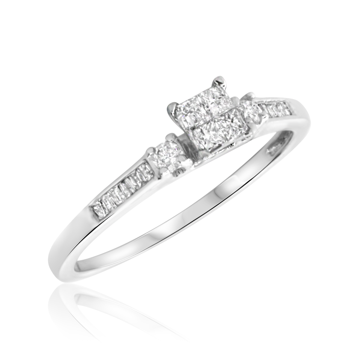 1/4 Carat T.W. Princess, Round, Baguette Cut Diamond Ladies Engagement Ring 10K White Gold