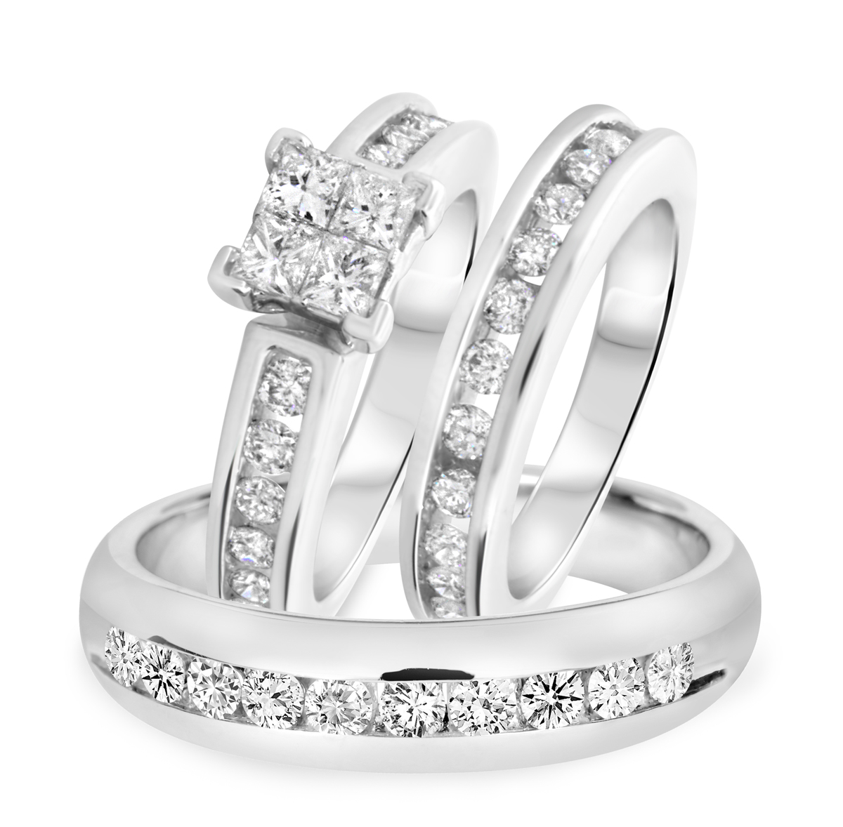 2 Carat T.W. Princess, Round Cut Diamond Trio Wedding Set 10K White Gold