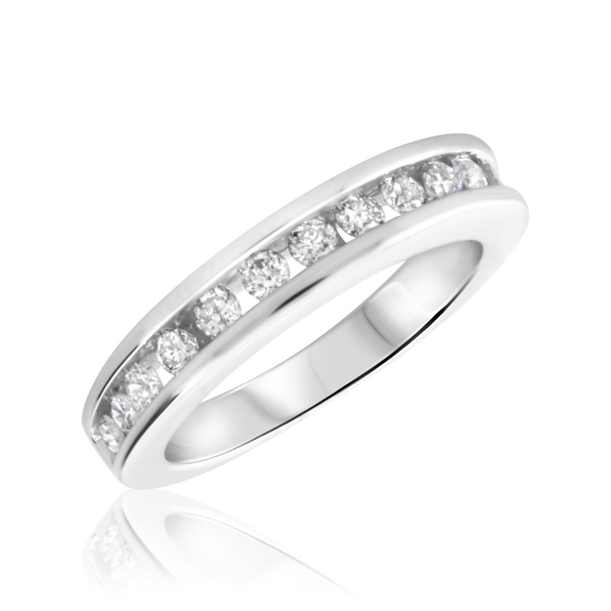 1/2 Carat T.W. Round Cut Diamond Ladies Wedding Band 10K White Gold