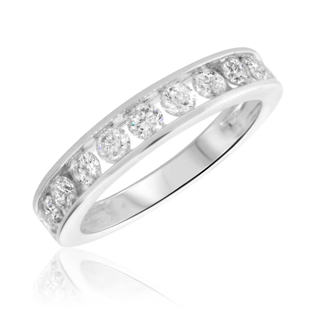 7/8 Carat T.W. Round Cut Diamond Ladies Wedding Band 14K White Gold
