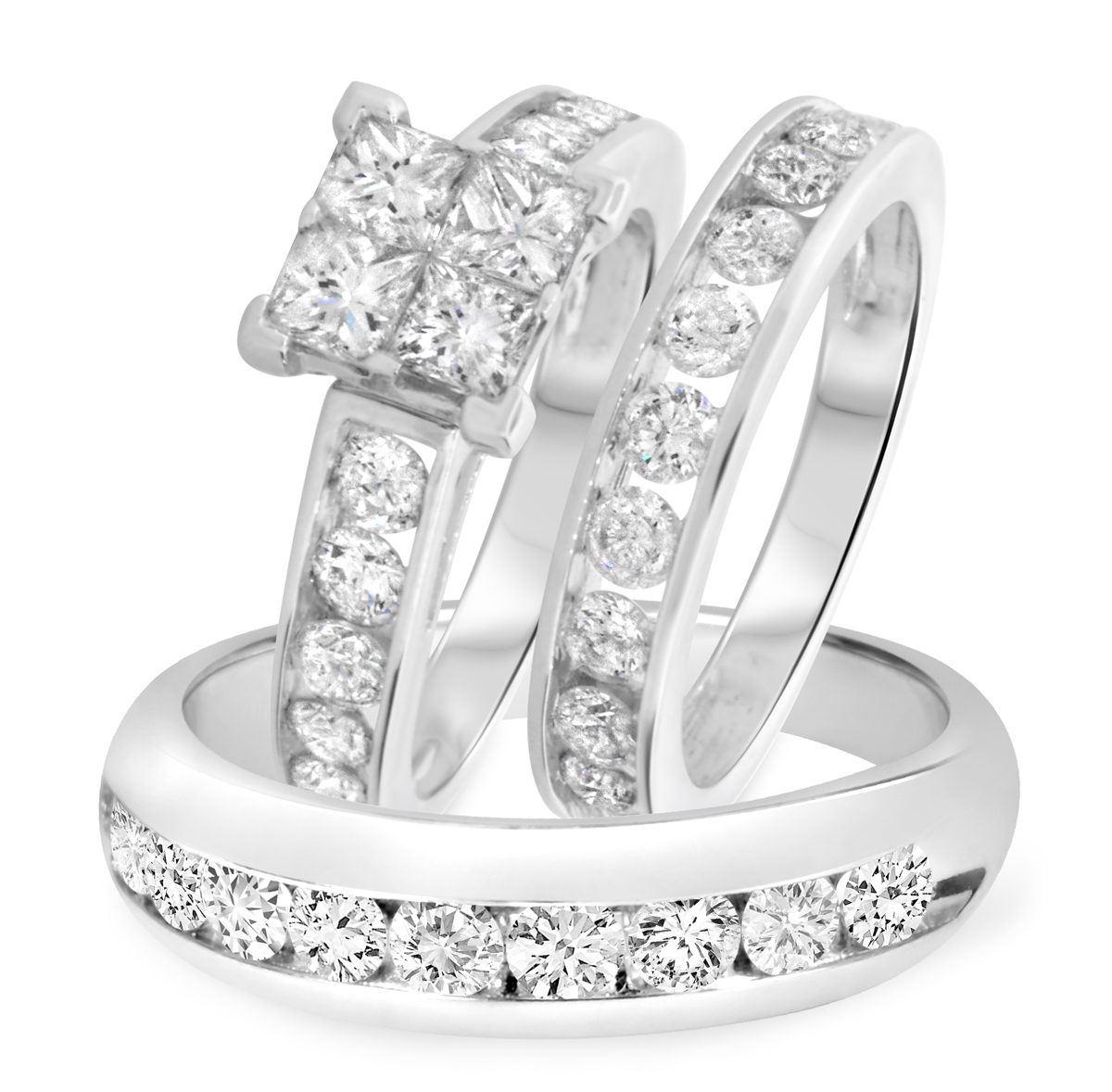 4 Carat T.W. Princess, Round Cut Diamond Trio Wedding Set 14K White Gold