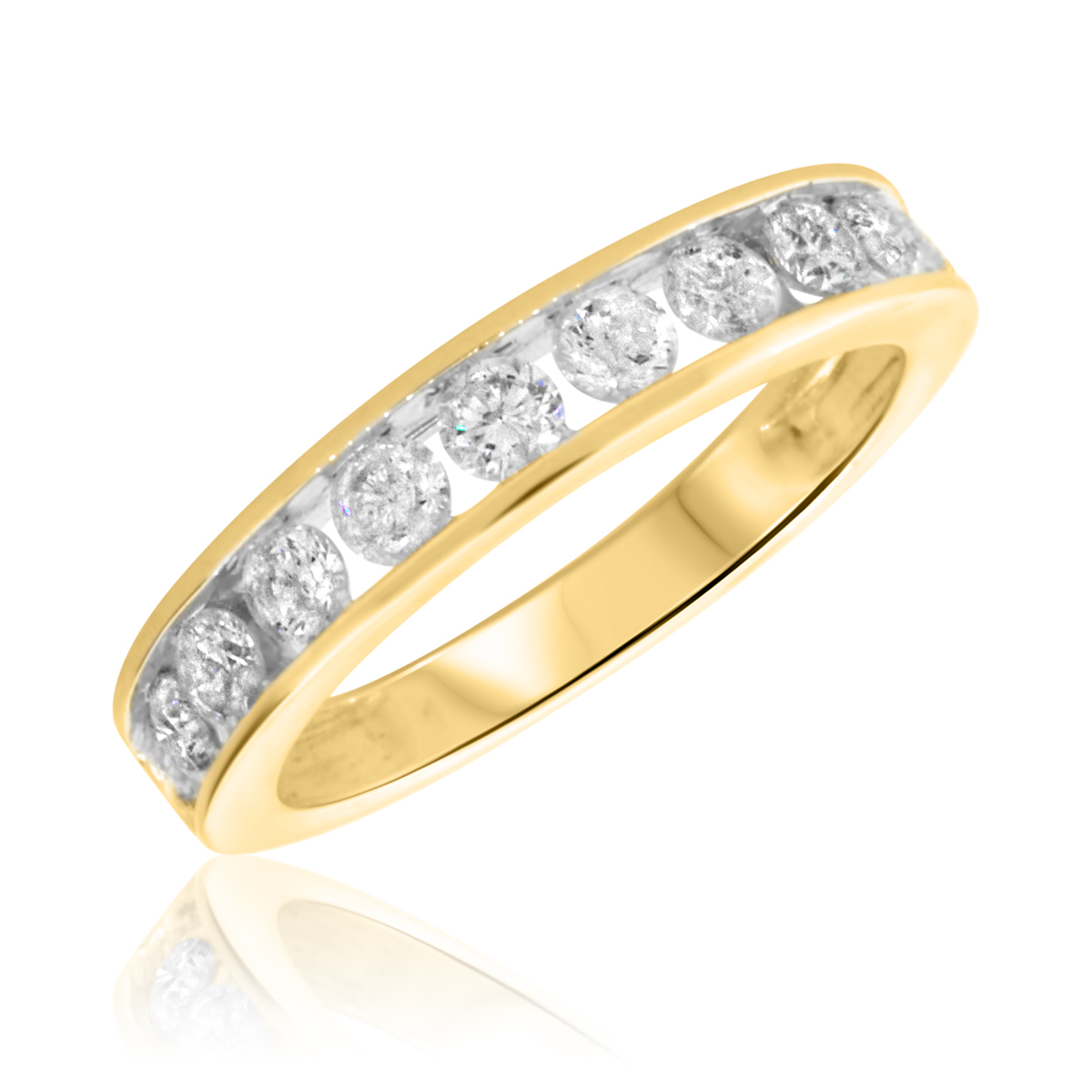 7/8 Carat T.W. Round Cut Diamond Ladies Wedding Band 10K Yellow Gold