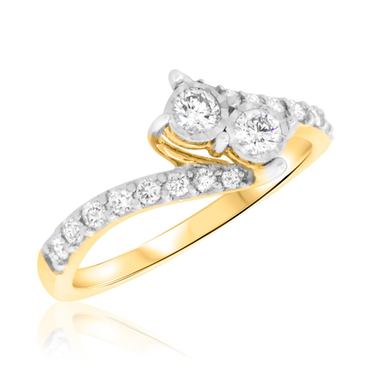 1/3 Carat T.W. Round Cut Diamond Two Stone Ring 14K Yellow Gold