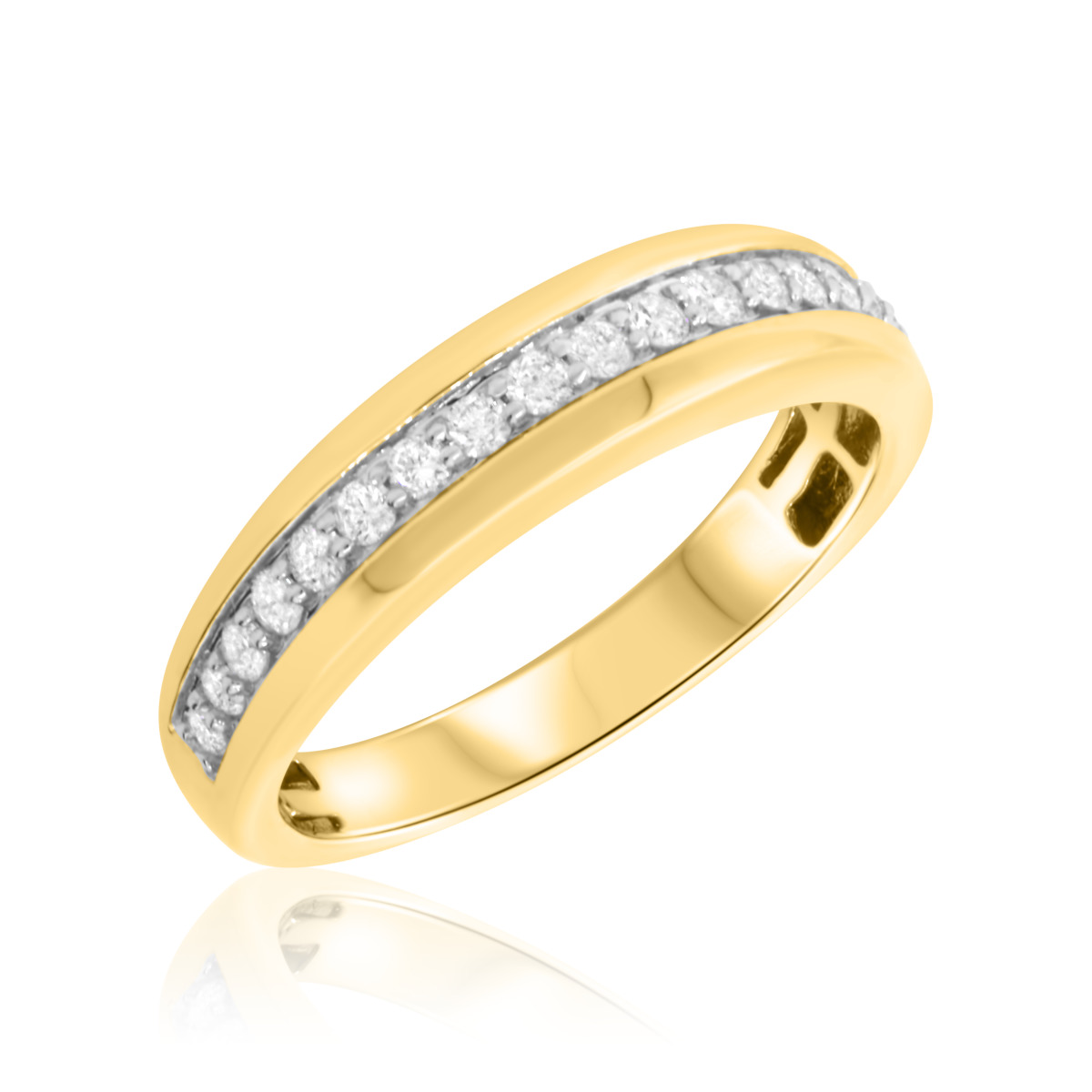 1/2 CT. T.W. Diamond Mens Wedding Band 14K Yellow Gold