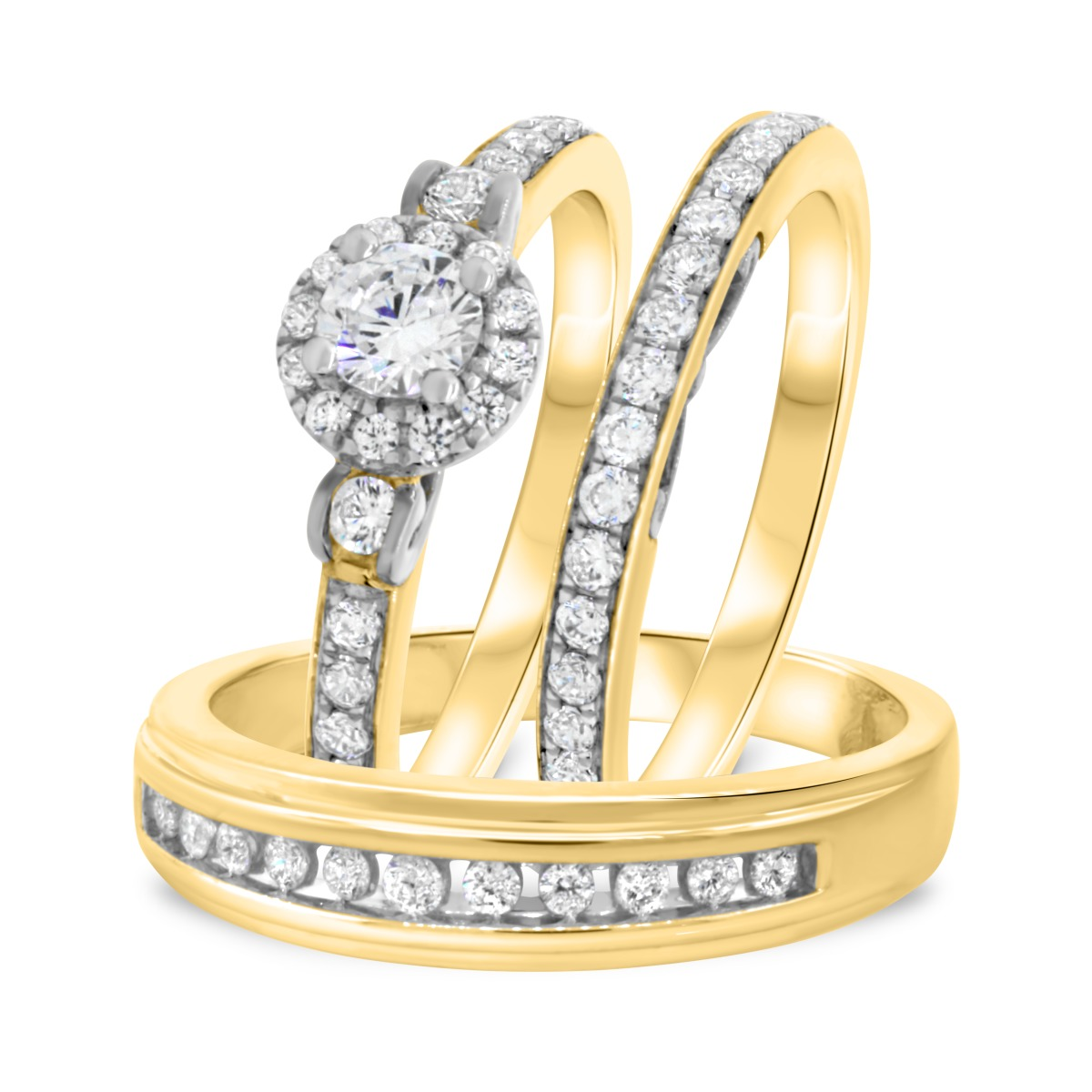 1 CT. T.W. Diamond Trio Matching Wedding Ring Set 10K Yellow Gold