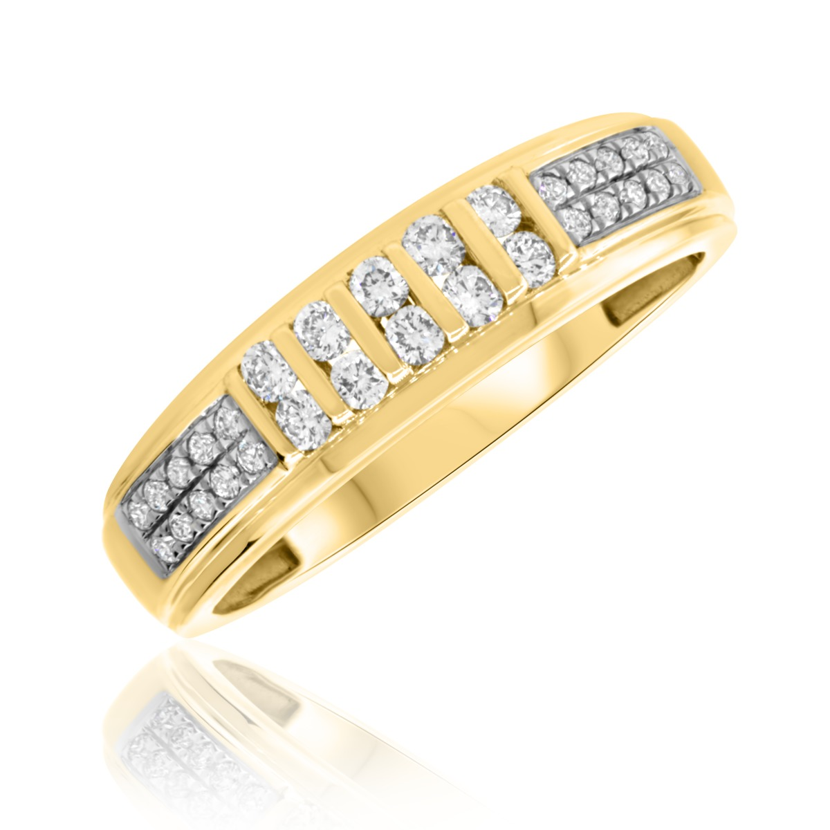 3/8 Carat T.W. Diamond Mens Wedding Band 14K Yellow Gold