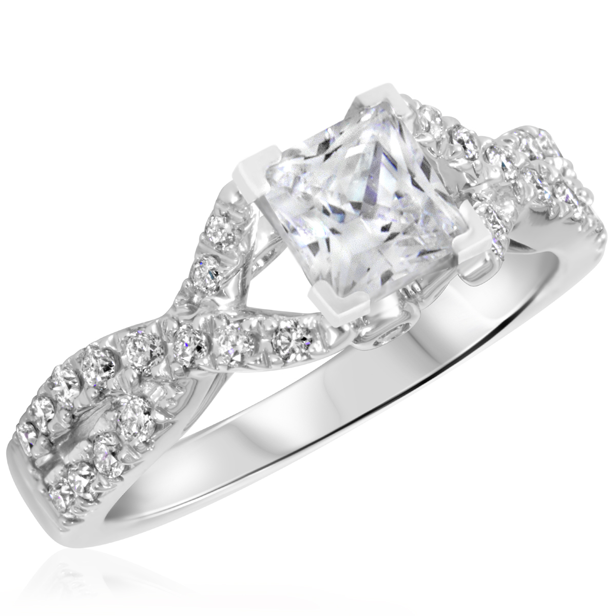 1 1/2 CT. T.W. Diamond Ladies Engagement Ring 14K White Gold