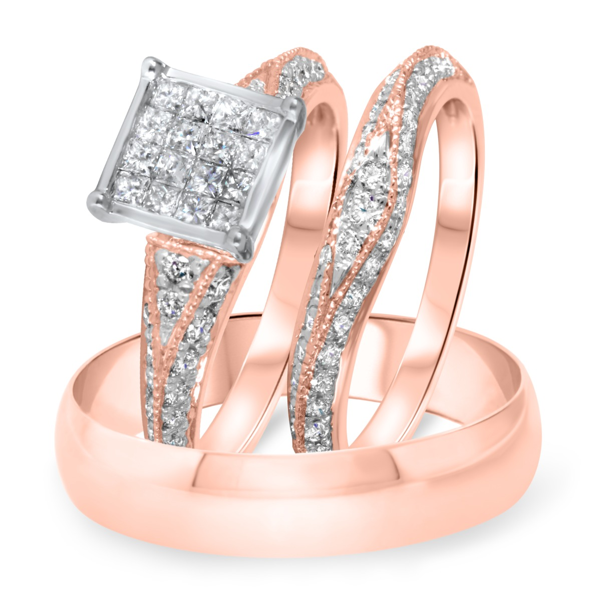 1 1/4 CT. T.W. Diamond Ladies Engagement Ring, Wedding Band, Men's Wedding Band Matching Set 14K Rose Gold