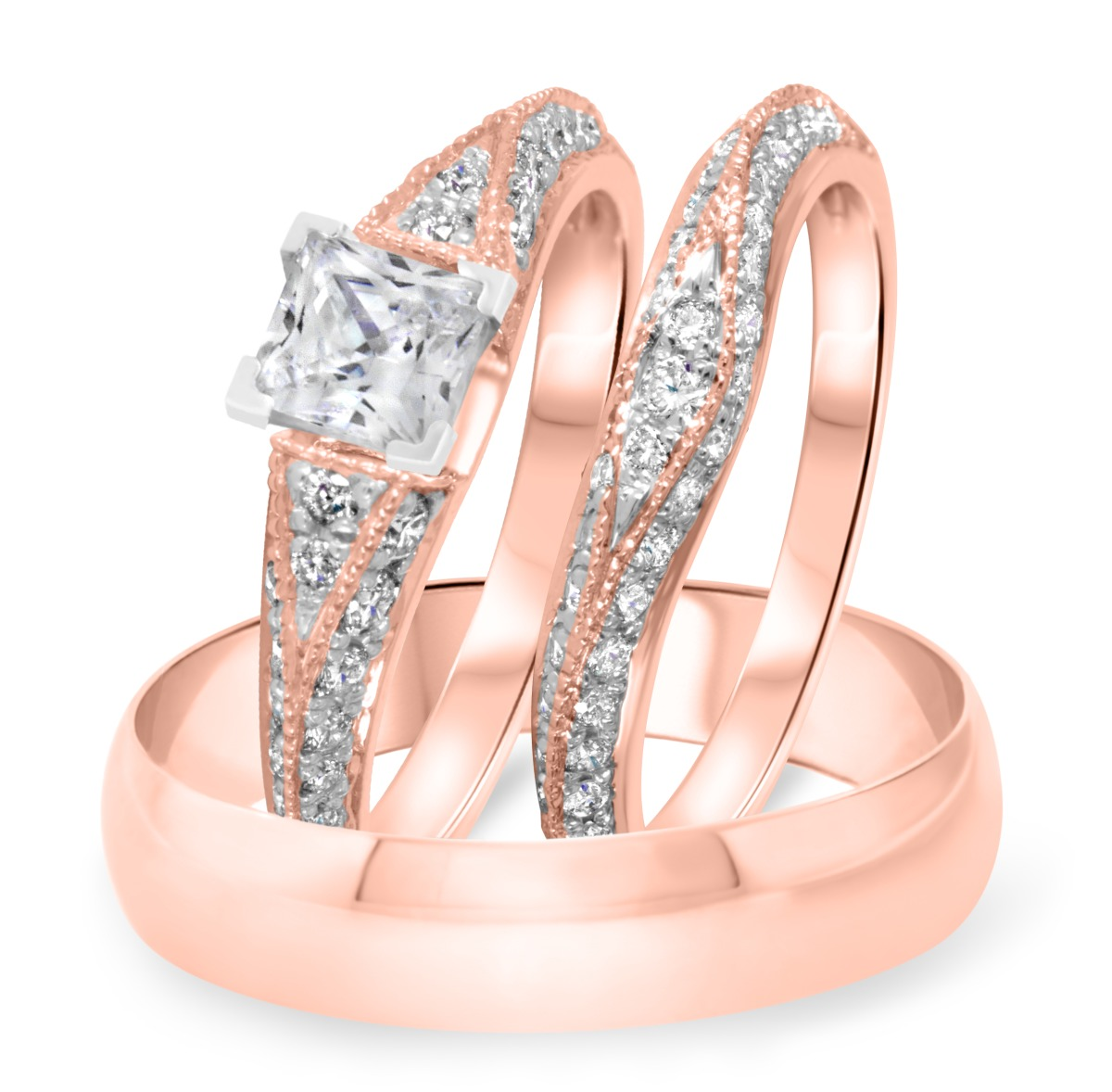 1 1/2 CT. T.W. Diamond Ladies Engagement Ring, Wedding Band, Men's Wedding Band Matching Set 14K Rose Gold