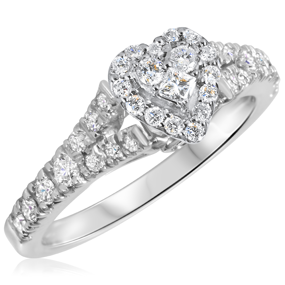 2/3 CT. T.W. Diamond Ladies Engagement Ring 14K White Gold